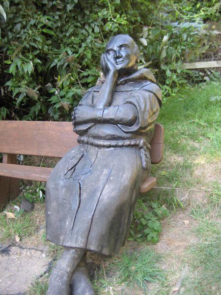 Pilgrim on bench near Harrietsham