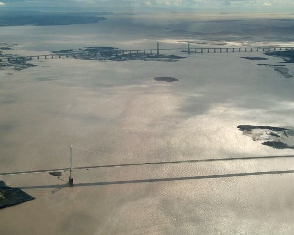 The Severn bridges crossing near the mouth of the River Severn (Wikipedia)
