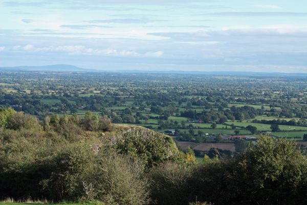 Shropshire plain and hills from Llanymynech rocks