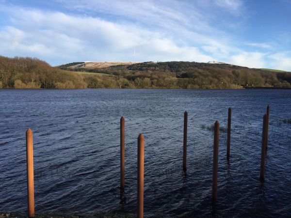 The Rivington Reservoir with Winter Hill in the distance