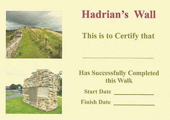 Certificate for Hadrian's Wall Path