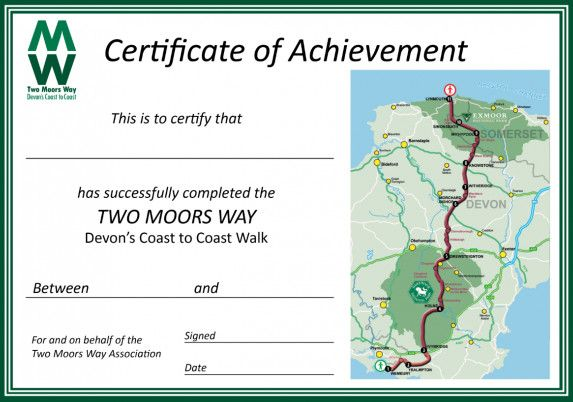 Certificate for Two Moors Way