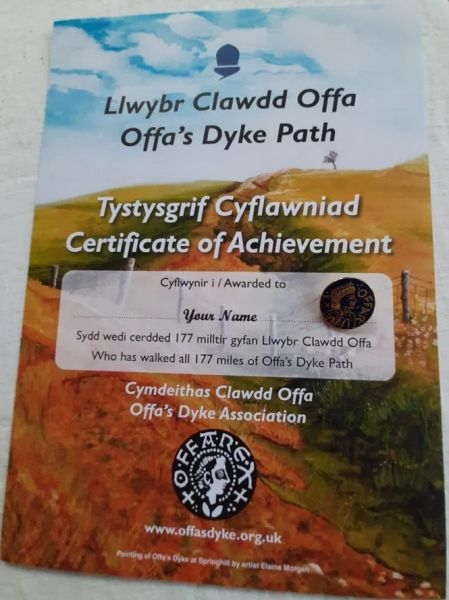 Badge & Certificate for Offa's Dyke Path National Trail