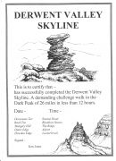 Certificate for Derwent Valley Skyline