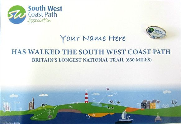 Certificate for South West Coast Path National Trail