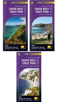 South West Coast Path: Set of 3 Maps