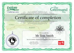 Explore Kent Walk Challenge Certificate